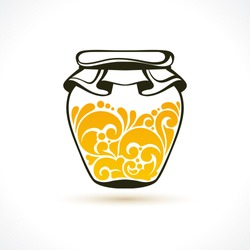 Vector illustration honey - symbol, icon, design element. Abstract Ornamental pattern jar of honey isolated on white background