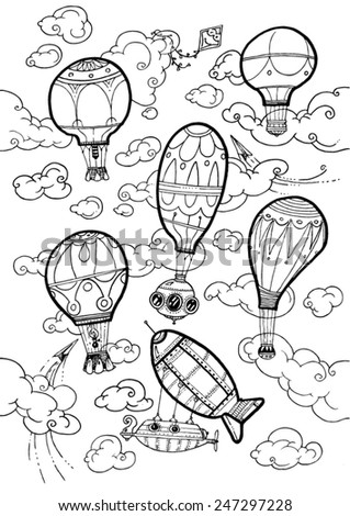 vector - illustration hot air balloons in the sky, clouds, flying, serene, flying machines - pattern