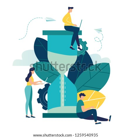 Vector illustration, hourglass on white background, time management concept, quick response