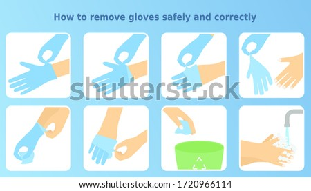 Vector illustration 'How to remove gloves safely and correctly'. 8 icons set of removing disposable gloves step by step. Health safety infographic. Colorful instruction for health posters, banners.