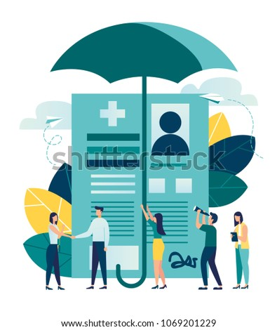 vector illustration. human life insurance. metaphor umbrella as protection of people from accidents with life and personal property. accident insurance schedule design