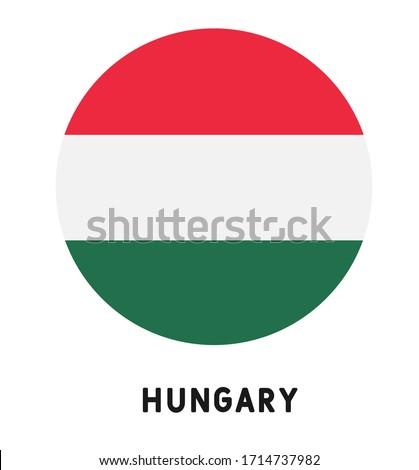 Vector illustration Hungary flag icon. Round national flag of Hungary.  Сток-фото ©