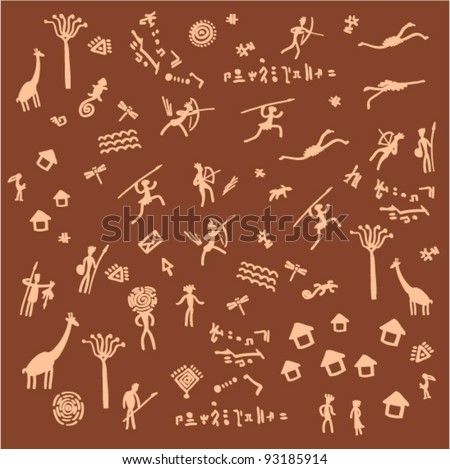Vector illustration - hunting (style petroglyphs)