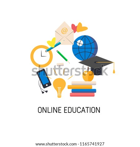 Vector illustration. Icon of laptop with different elements for online education.