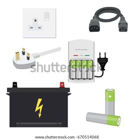 Vector illustration icon set, collection car battery, uk socket and plug, battery charger, batteries and cord.
