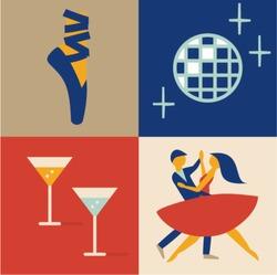 Vector illustration icon set of dance: ballet, disco ball, cocktail, couple