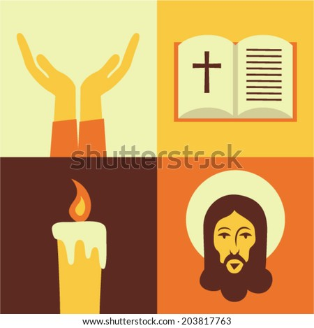 Vector illustration icon set of Jesus: Prayer, Bible, Candle, God