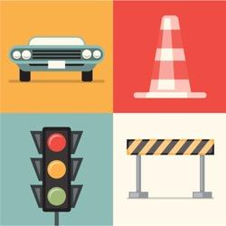 Vector illustration icon set of road: car, cone, traffic lights, repair