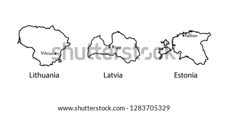 Vector illustration icon set with black line silhouettes of Baltic States maps (simplified outlines). Lithuania, Latvia, Estonia. Marked capitals Vilnius, Tallinn, Riga.