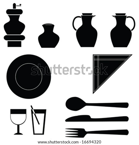 Vector illustration icons of different items for a table: pepper grinder, salt shaker, oil dispensers, plate, fork, knife, spoon, glasses and napkins. For jpeg version, please see my portfolio.
