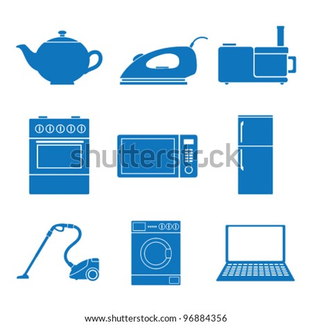 Vector illustration icons on appliances