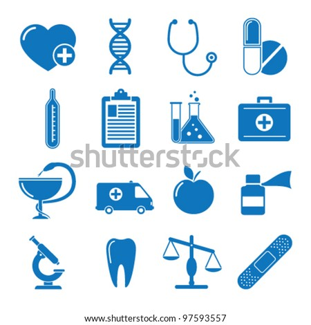 Vector illustration icons on medicine