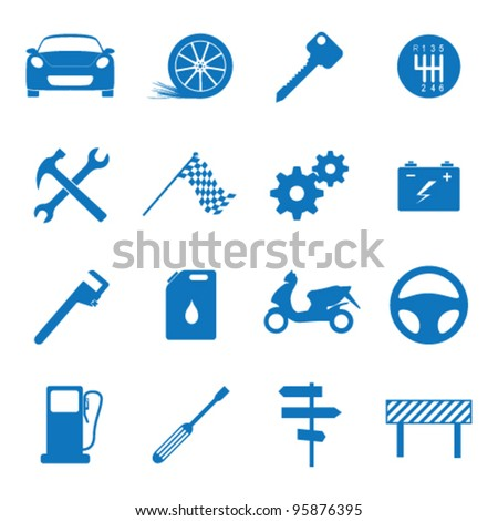 Vector illustration icons on the mechanics