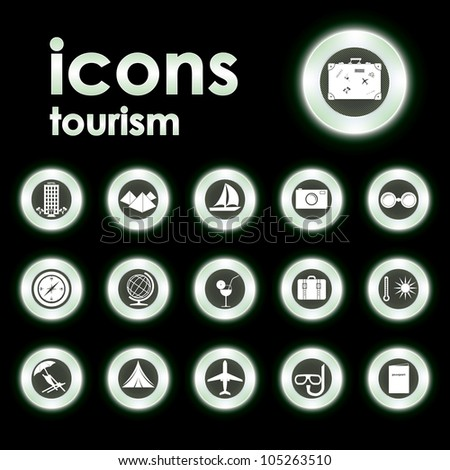 Vector illustration icons on tourism