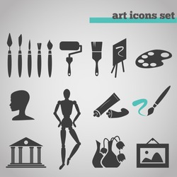 vector illustration icons set of art supplies and instruments for painting, drawing, sketching isolated on grey background.