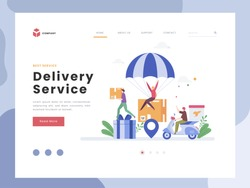 Vector Illustration idea concept for landing page template, Delivery Service, Flat tiny Shipping box ride with scooter, Package is flying on parachute transport export to customer location. Flat Style