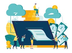 vector illustration, illustration of credit approval or contract conclusion online, quick money transfer, financial services vector