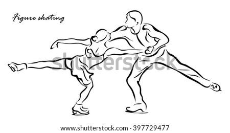 Vector illustration. Illustration shows a figure skating