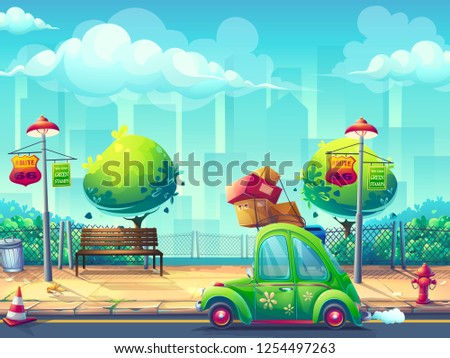 Vector illustration image car Pin-up style. For web, video games, user interface, design. For web, video games, user interface, design