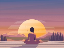 Vector illustration image of morning meditation by the nature.Good looking woman doing yoga in lotus position.Modern lifestyle  of successful people. International Yoga Day on 21st June