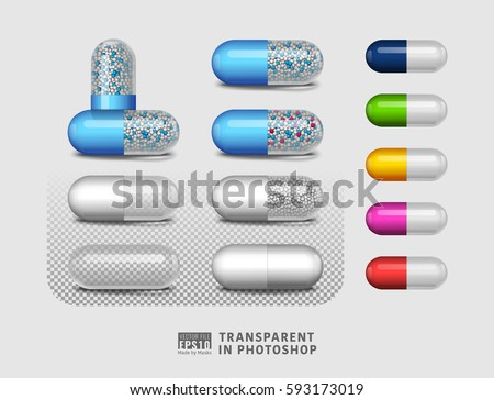 Vector illustration image set of isolated, empty, transparent, full pill composition with reflections made by vector masks on background. Easy to copy paste in different graphic design software