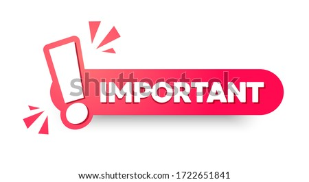 Vector Illustration Important Label.  Modern Web Banner With Exclamation Mark Foto stock ©