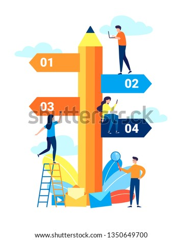 Vector illustration in a flat cartoon style, pencil direction sign in different, destination, choice of directions, travel to different places