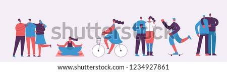 Vector illustration in a flat style of different activities people characters - dancing, working, doing sport activities and the friends.
