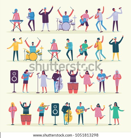 Vector illustration in a flat style of group of singing, playing guitar, drums, piano, saxophone and other music instrument people