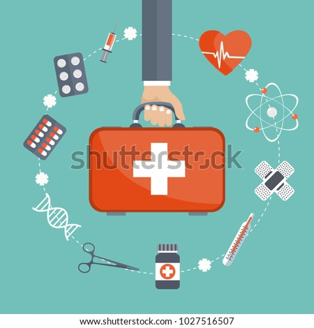 Vector illustration in a modern flat style, health care concept. Hand with medical bag and medical icons. Flat vector illustration. #1027516507