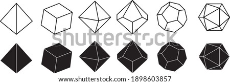 Vector illustration in black and white color of dice for role playing games with four, six, eight, twelve and twenty faces with numbers on them Photo stock ©
