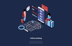 Vector Illustration In Cartoon 3D Style On Dark Background. Isometric Composition Of Online Booking Concept With Writing. Characters Ordering Tickets On Internet Service. Big Phone, Map, Navigator
