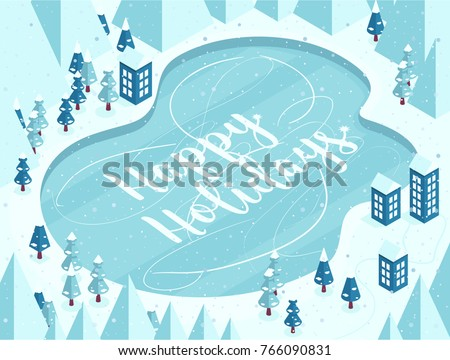 Vector illustration in cartoon style Vertical Snowy Mountains landscape with frozen lake, house, road, pines, hills, snow and hand lettering of Happy Holidays.