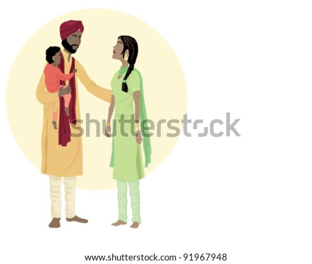 vector illustration in eps 10 format of a traditionally dressed  sikh family of mother father and young child - stock vector