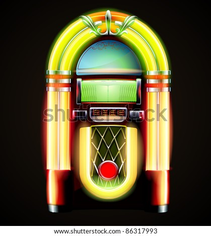 Vector illustration in eps 10 of retro style detailed classic juke box.