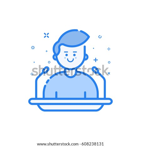 Vector illustration in flat bold linear style with boy - orator speaking from tribune. Concept of business lectern giving public speech. Use in Web Project and Applications. Outline stock object.