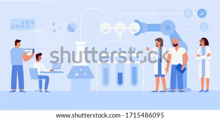 Vector illustration in flat cartoon simple style with characters - biotech and futuristic medical research concept - medical and scientific team working on tests, vaccines and treatment for viruses an