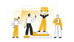 Vector illustration in flat cartoon simple style with characters - teamwork concept - men and woman building interface concept - app development concept