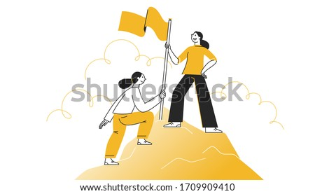 Vector illustration in flat cartoon simple style with characters - women climbing to the top of the mountain with a flag - business competition and challenge concept