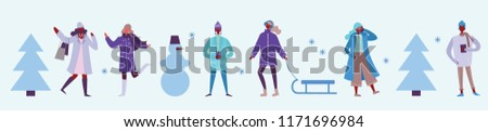 Vector illustration in flat design of winter season background with people outdoor in the minimalistic flat design #1171696984