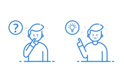 Vector illustration in flat line style and blue color. Problem solving concept. Man thinking - with question mark and light bulb icons - creative idea. Use in Web Project and Applications - stock.