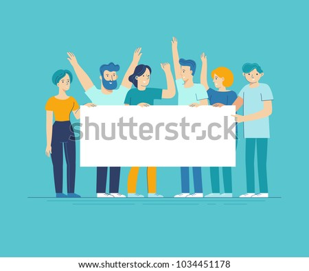 Vector illustration in flat line style - team of happy people holding white placard with copy space for text - announcement banner for advertising for new business - collaboration and teamwork concept