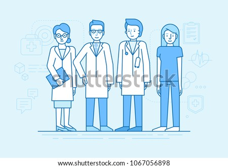 Vector illustration in flat linear style and blue color  - medical team - group of doctors and nurses standing together - hospital staff