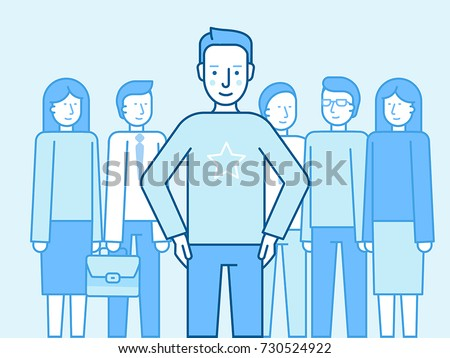 Vector illustration in flat linear style and blue color - successful team concept - leader and and partners standing  - winning business competition