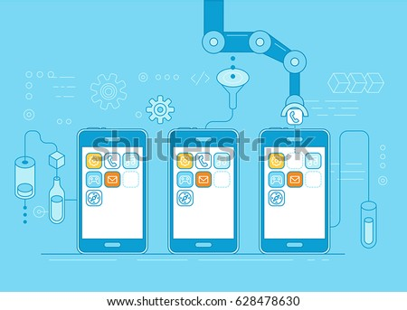 Vector illustration in flat linear style and blue colors - app development concept - robotic hand putting application in mobile phone - modern technology and code construction banner