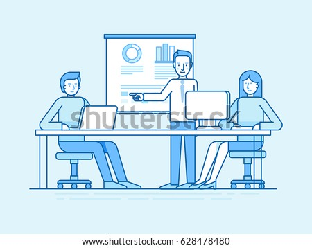 Vector illustration in flat linear style and blue colors - business conference and seminar - training for coworkers in the office - man and woman at computers and public speaking teacher