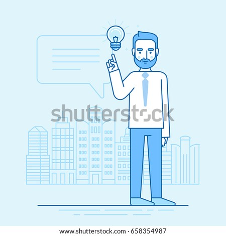 Vector illustration in flat linear style and blue colors - creative idea concept - business man standing in front of city landscape with light bulb