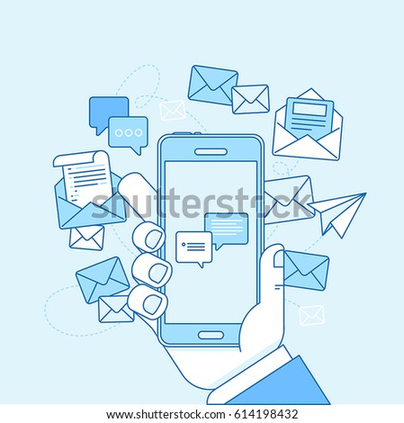 Vector illustration in flat linear style and blue colors - email marketing concept - hand holding mobile phone with mailing app on the screen