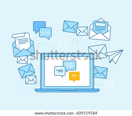 Vector illustration in flat linear style and blue colors - email marketing concept - laptop with mailing app on the screen