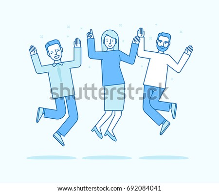 Vector illustration in flat linear style and blue colors - happy jumping team - smiling men and woman - victory, teamwork  and cooperation concept